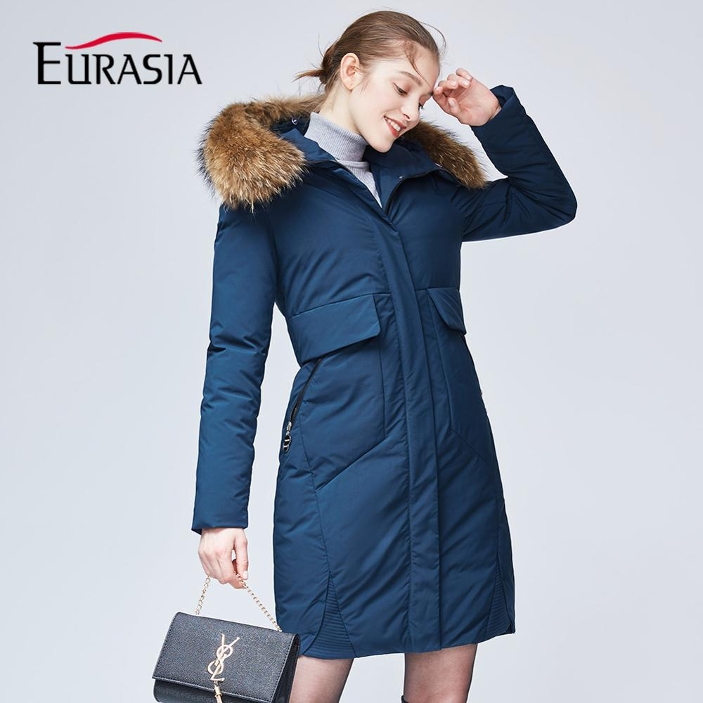 EURASIA 2018 New Design Winter Women Full Long Coat Nature Raccoon Fur Collar Hood Thick Jacket Lady   Parkas   Outerwear Red YD1862