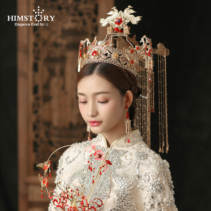 HIMSTORY Bridal Headdress Hairwear Wedding-Hair-Accessory Coronet Traditional Chinese
