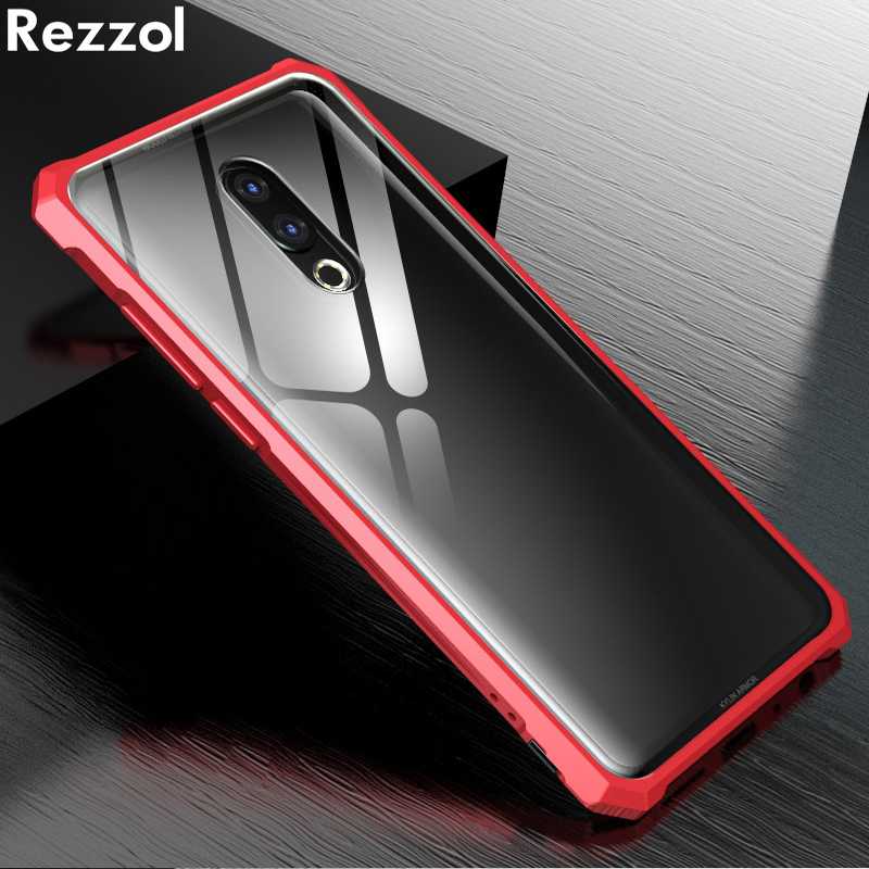 Rezzol For Meizu 16th Case Transparent Tempered Glass Metal Bumper Protective Hard Cover Case For Meizu 16th plus Meizu 16 Capa-in Fitted Cases from Cellphones & Telecommunications