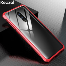 Rezzol для Meizu 16th чехол прозрачный закаленное Стекло Металлический Бампер Защитный чехол для Meizu 16th плюс Meizu 16 капа