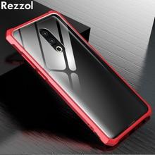 Rezzol For Meizu 16th Case Transparent Tempered Glass Metal Bumper Protective Hard Cover Case For Meizu 16th plus Meizu 16 Capa