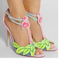 2017 Summer Red Firebird T Strap High Heel Green Leaves Peep Toe Buckle Sandal Real Photos