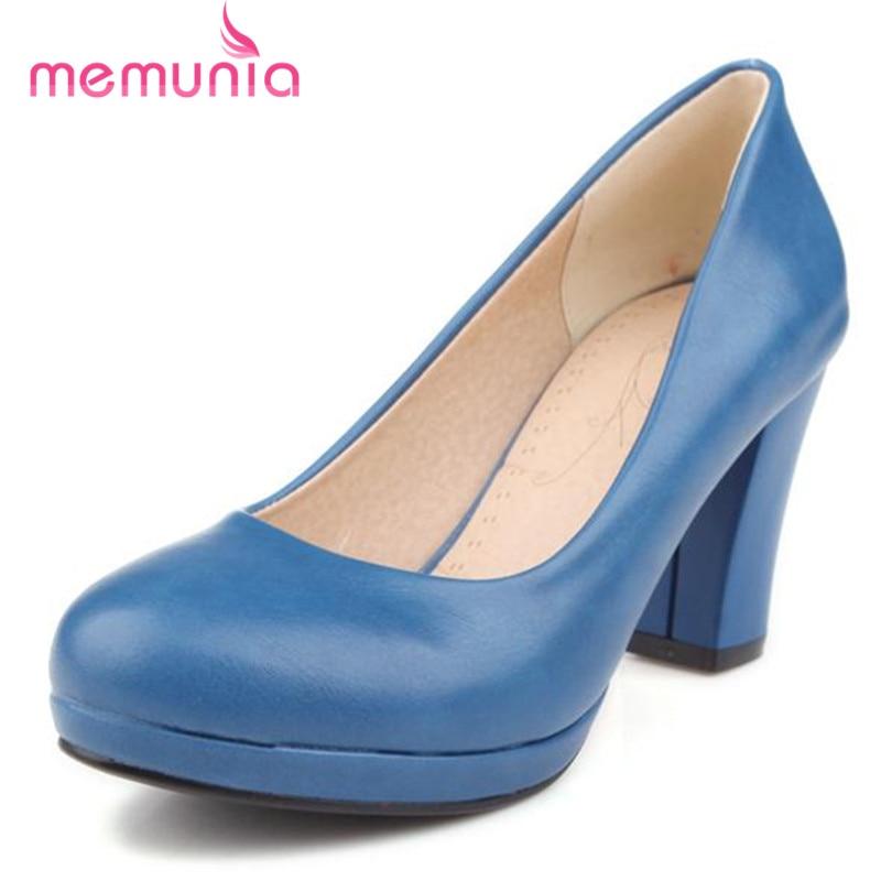 ФОТО MEMUNIA 2017 Pumps women shoes solid pu shallow high heels shoes platform big size 34-43 contracted fashion single shoes party