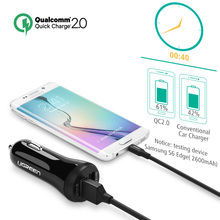 Ugreen Car USB Charger Quick Charge 3.0 2.0 Mobile Phone Charger 2 Port USB Fast Car Charger for Samsung Xiaomi Tablet Charger