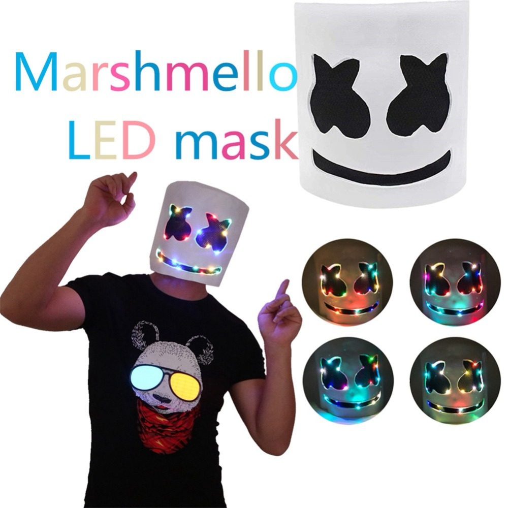 DJ Marshmello Masks Kids Adult Cosplay Props LED Luminous Full Face Helmet Mask Night Club Bar Party Prop Latex Mask Accessories