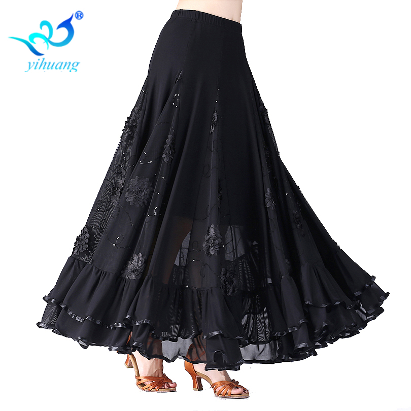 New Flamenco Dance Costume Skirt Ballroom Long Skirts Ladies Waltz Modern Standard Tango Dancewear Outfits Performance 9 Colors