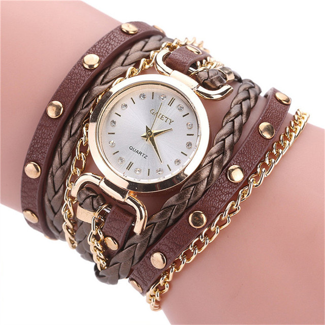 2018 Womens Bracelet Watch Relogio Feminino Vintage Weave Wrap Quartz PU Leather