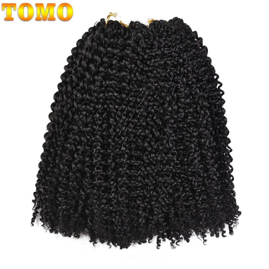 TOMO Afro Kinky Twist Hair Ombre Marlybob Crochet Braids 24Roots/Pack Synthetic Kanekalon Kinky Curly Crochet Hair Weave