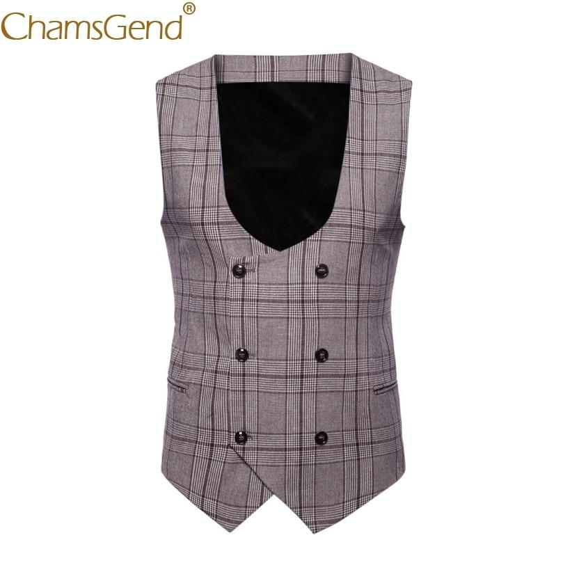 Plaid Vest Coat Classic Formal Suit Blazers Business Wedding-80813 British Gentleman