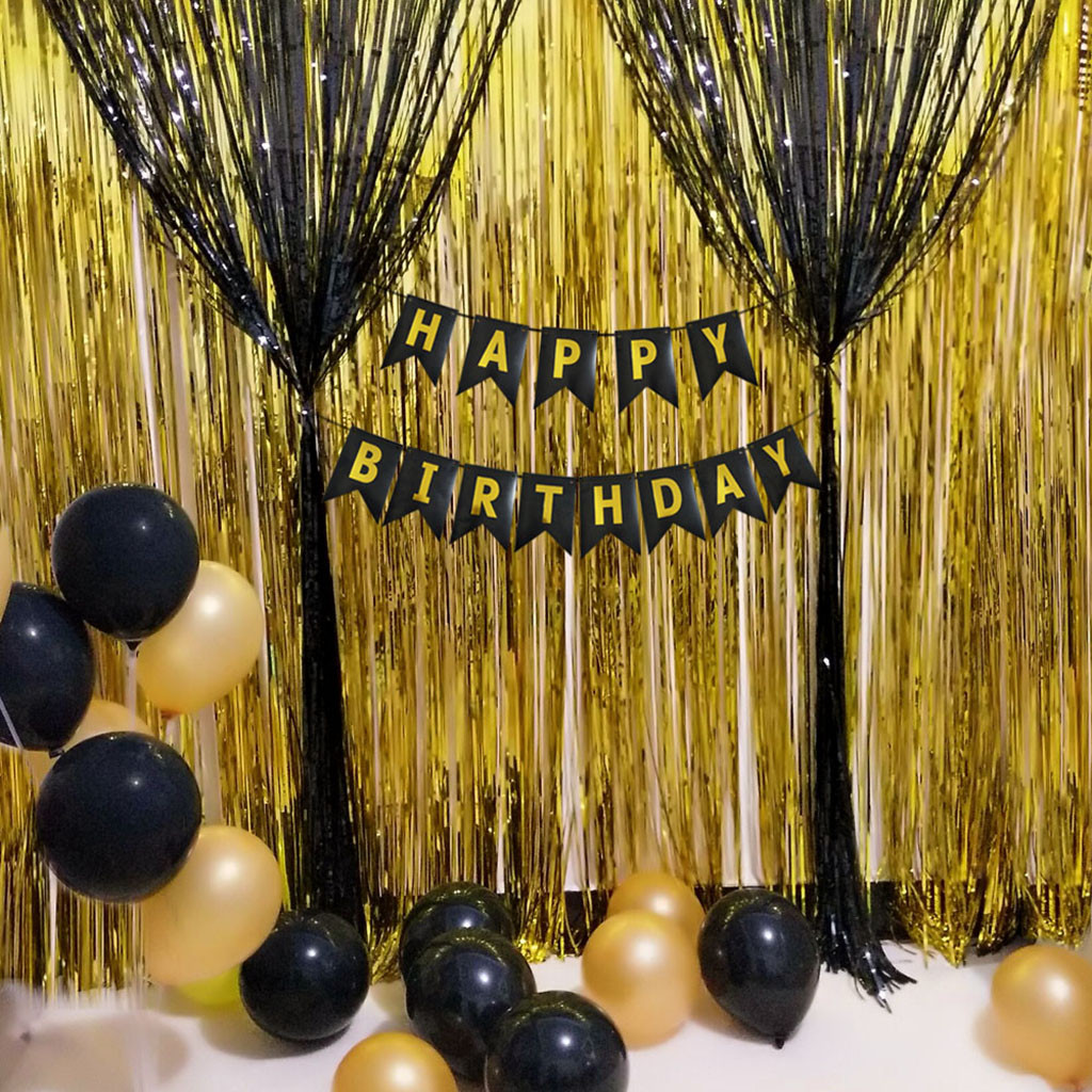 diy birthday party decoration balloon foil curtains pull the flag pompoms confetti decoration party balloons paper mar25
