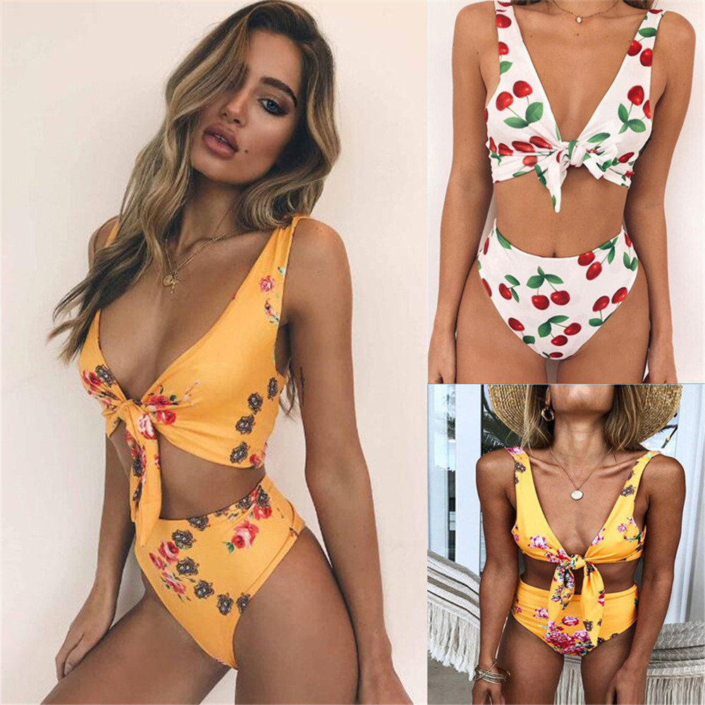 2018 Sexy High Waist Bikini Women Swimwear Push Up Swimsuit Ruffle Bathing Suit floral Biquinis Summer Beach Wear Female цена и фото
