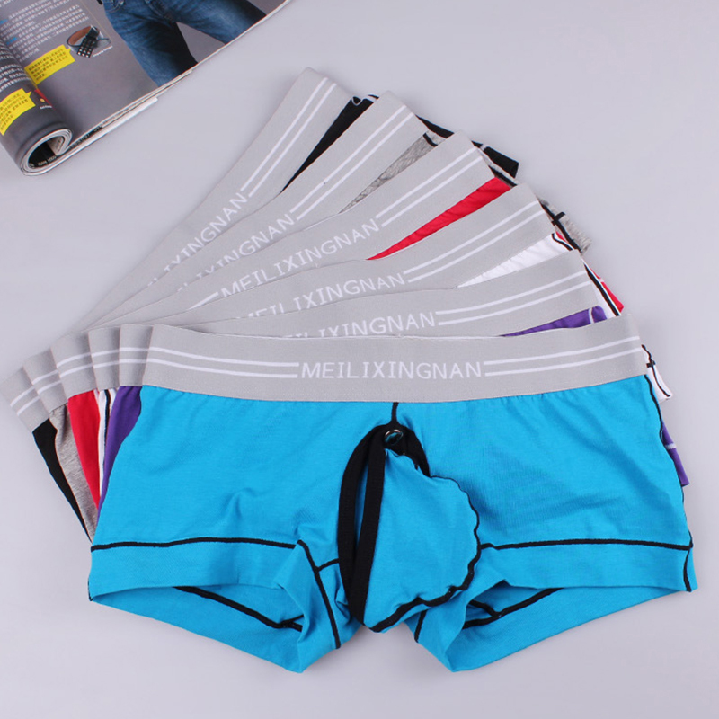 Sexy Gay Men's Removable Bulge Penis Pouch Underwear Cuecas Man Open Crotch Boxer Shorts Panties Crotchless Sex Underpants