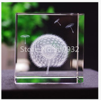 Free Shipping 2 Pieces 6 6 6cm 3D Laser Dandelion Crystal Cube For Holiday Gift