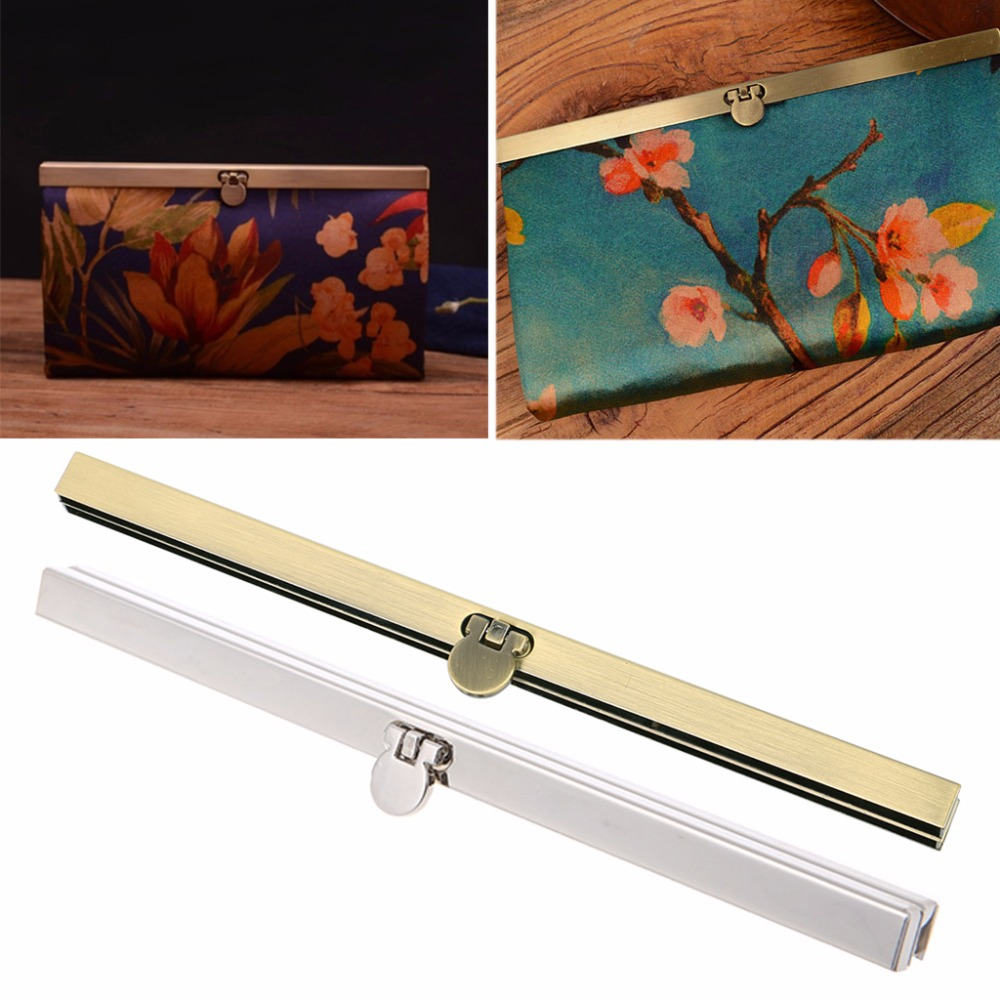THINKTHENDO Metal Purse Bag Frame Lotus Kiss Clasp Lock Replacement Purse Wallet Frame Bar Edge Strip Clasp