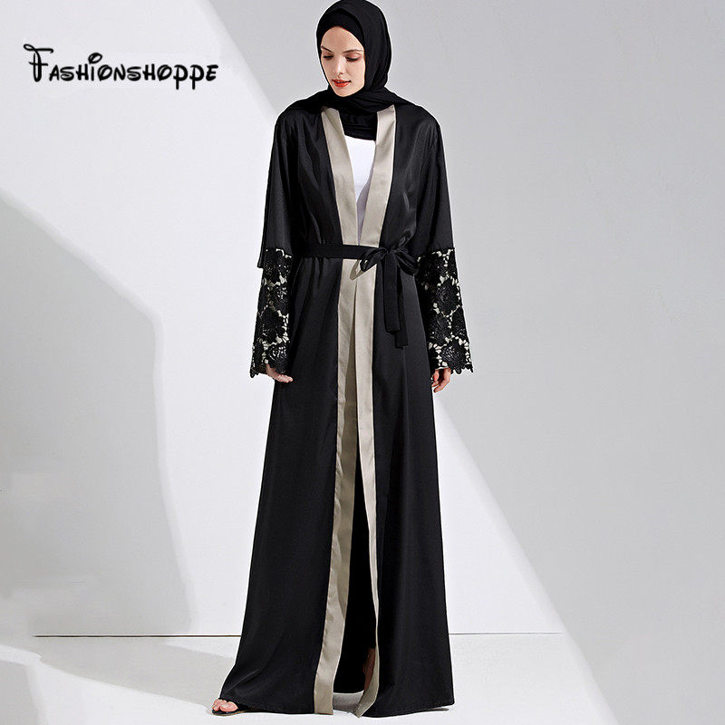 2017 Adult Casual Robe Musulmane Dubai Style Open Front Abaya Belt Muslim  Maxi Dress Cardigan Robes 2245f264d79