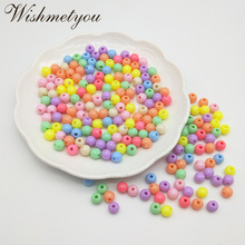 WISHMETYOU 100pcs 7.5mm Round Loose Beads Handmade Garment For Kids Diy Necklace Bracelets Making Accessories Acrylic Bead