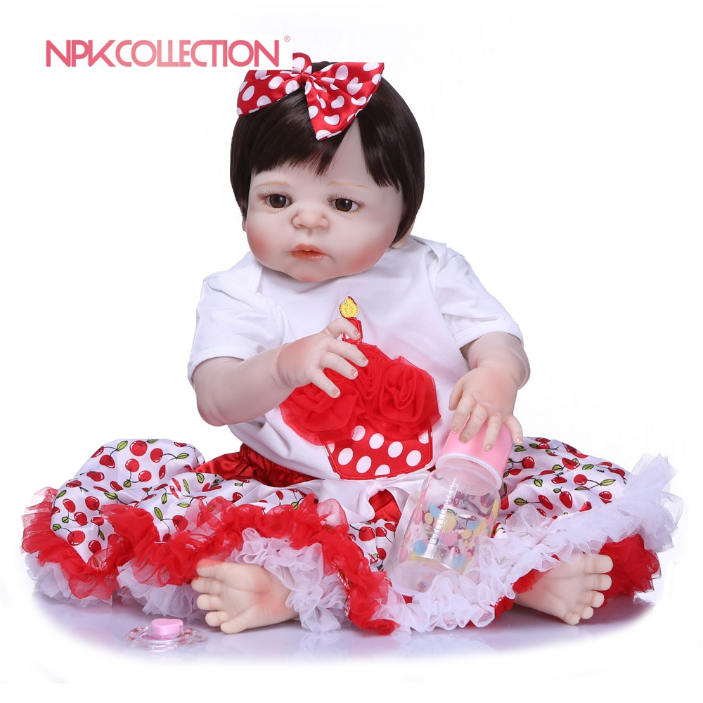 NPKCOLLECTION New Arrival Baby Girl Doll Full Silicone Body Lifelike Bebe Reborn Princess Girl Doll Handmade Baby Toy Kids Gifts new arrival 23 57cm baby girl doll full silicone body lifelike bebe reborn bonecas handmade baby toy for kids christmas gifts