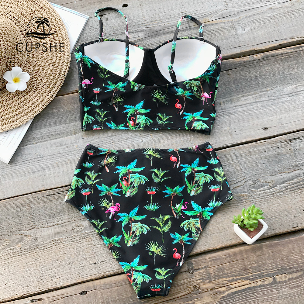 CUPSHE Green Palm And Flamingo Print Bikini Sets 2019 Women Sexy Push Up High Waist Lace Up Two Piece Swimsuits