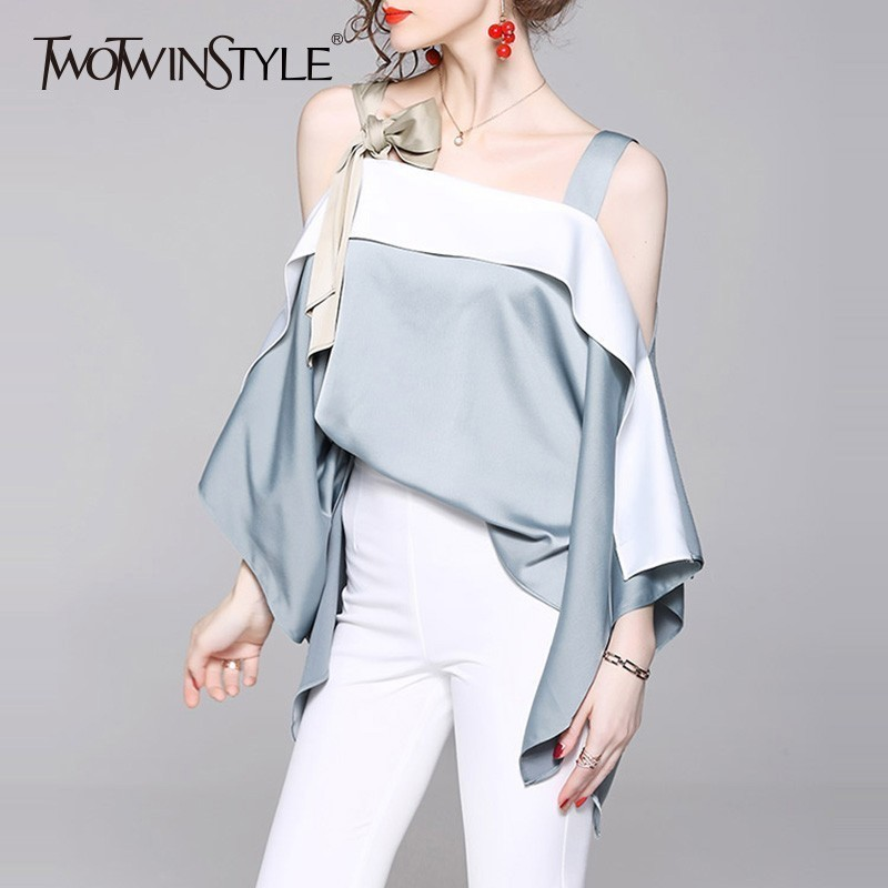 TWOTWINSTYLE Sexy Off Shoulder Womens Tops And Blouses Loose