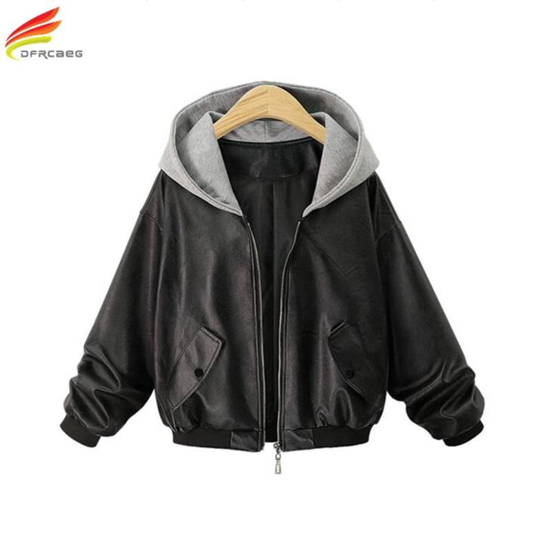 numerousinvariety modern style 60% cheap US $31.44 15% OFF|Bomber Jacket Women 2018 Winter Warm PU Leather Coat  Woman Hooded Plus Size Long Sleeve Euro Fashion Short Coats Blouson  Femme-in ...