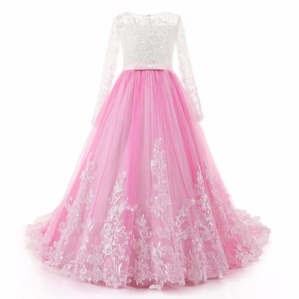 JaneVini Prinses Lange Mouwen Sweep Trein Bloem Meisje Jurken voor Bruiloften Kant Tutu Kids Pageant Avondjurken Wit Top Roze Rok - 6