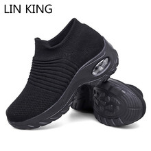 LIN KING Big Size Women Casual Shoes Breathable Outside Footwear Sports Sneakers