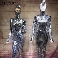 Silver Full Sequins jumpsuit And Mask Sparkly Outfit Women's Cosplay Prom Party Nightclub Female Singer DS Show Sexy Bodysuits
