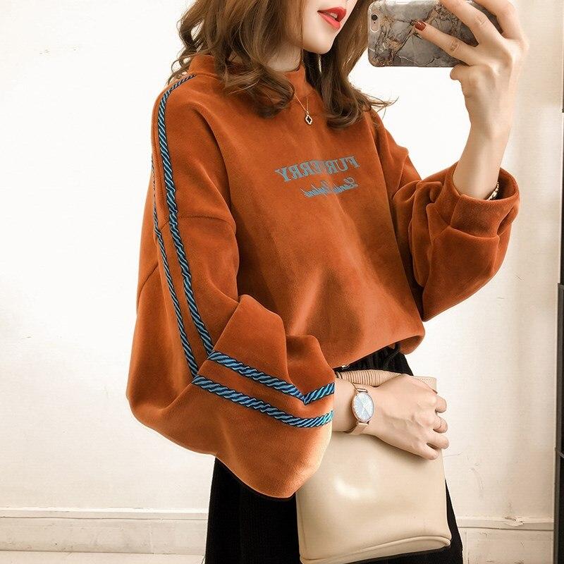 Femmes impression sweat femme Kpop Style coréen décontracté lâche manches chauve-souris polaire velours pulls Plus 4XL mode Vestidos