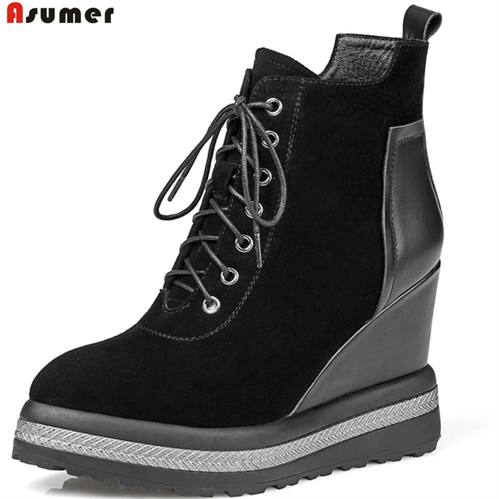 ASUMER pointed toe ladies autumn winter shoes woman boots size 42 wedges platform kid suede+cow leather high heels ankle boots 2017 new spring autumn big size 11 12 dress sweet wedges women shoes pointed toe woman ladies womens