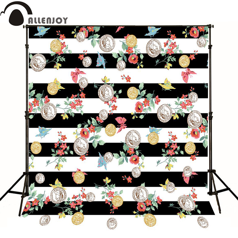 Allenjoy photographic children background Black and white picture red flower christmas backdrops for photo studio