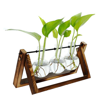 Plant Terrarium with Wooden Stand Air Planter Bulb Glass Vase Holder for Hydroponics Home Garden Office Decoration 66CY 1
