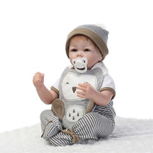 Lovely Silicone Reborn Baby Dolls 22 Inches 55CM Realistic Handmade Newborn Baby Alive Dolls For Boys