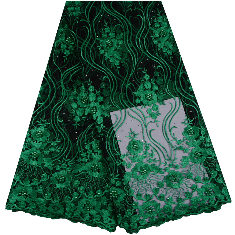Latest Green Net French Lace Material High Quality French Net African Lace Fabric With Pearls Nigerian