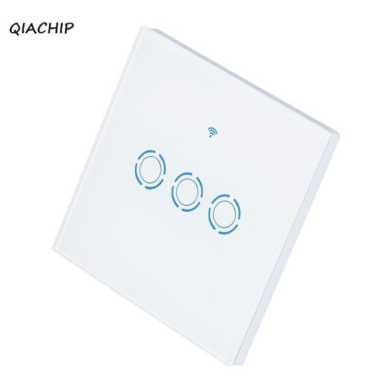 QIACHIP 3 CH WiFi Smart Switch Glass Panel Touch LED Wi-Fi Wireless Remote Control Light Wall Switch For Smart Home EU Plug H3 smart home touch control wall light switch crystal glass panel switches 220v led switch 1gang 1way eu lamp touch switch