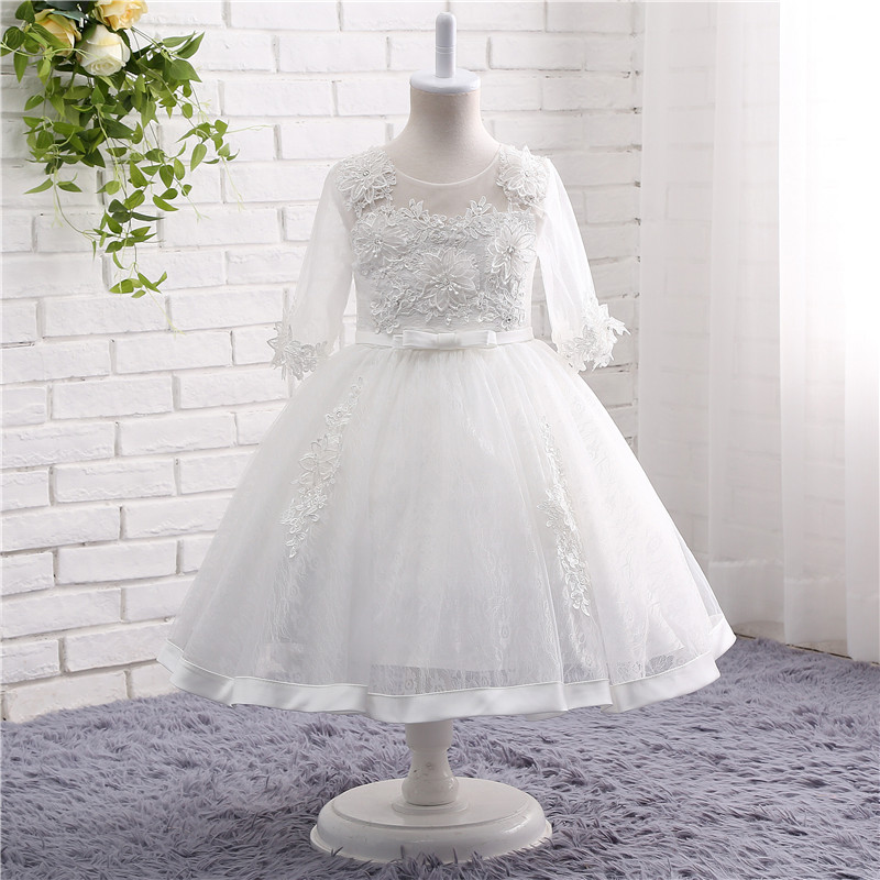 In Stock O-Neck Long Sleeve Tulle Appliques Ball Gown Sash   Flower     Girl     Dress   Kommunionkleid Floral Kids Graduation   Dresses   19821