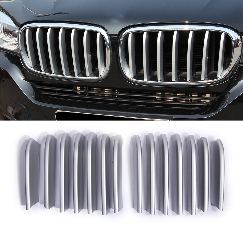 14pcs Front Grille Grill cover molding trim ABS plastic For BMW X5 X6 2014 2015 2pcs steel front center grill grid grille mesh cover trim for mitsubishi outlander 2013 2014