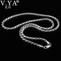V.YA Solid 925 Sterling Silver Men Chain Necklaces Vintage Thai Silver Mens Rope Chain 3mm width 50cm 55cm 60cm