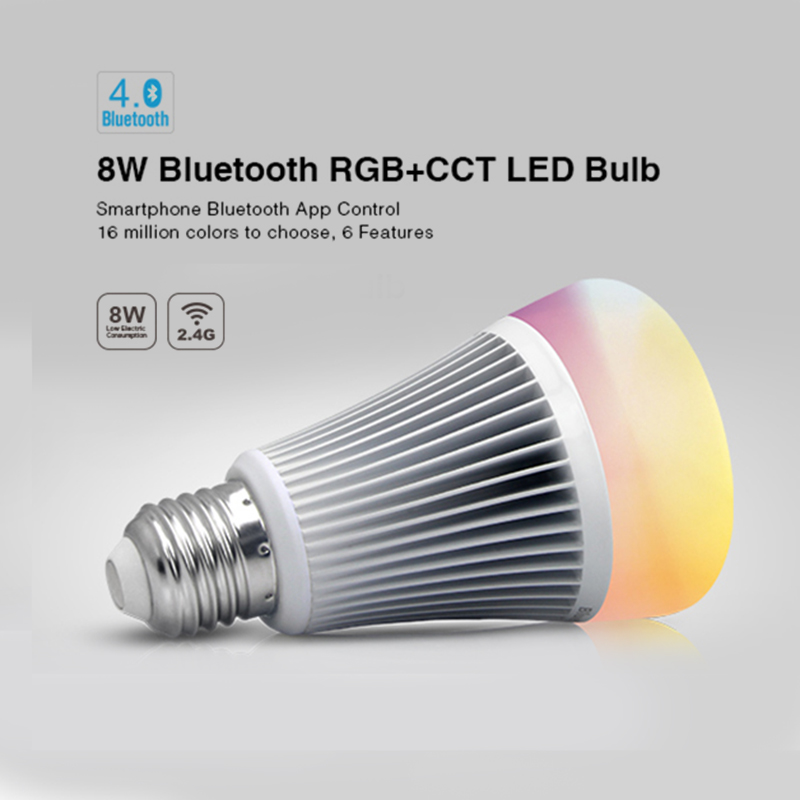 Milight 8W Bluetooth 4.0 FUT070 LED Bulbs E27 Smartphone Control RGBW RGBWW RGB+CCT Led Lamps Work For IOS Android AC110V 220V 2 4g milight ibox1 hub rf remote wifi ler with rgb light wireless control for milight led bulbs support ios android app dc5v