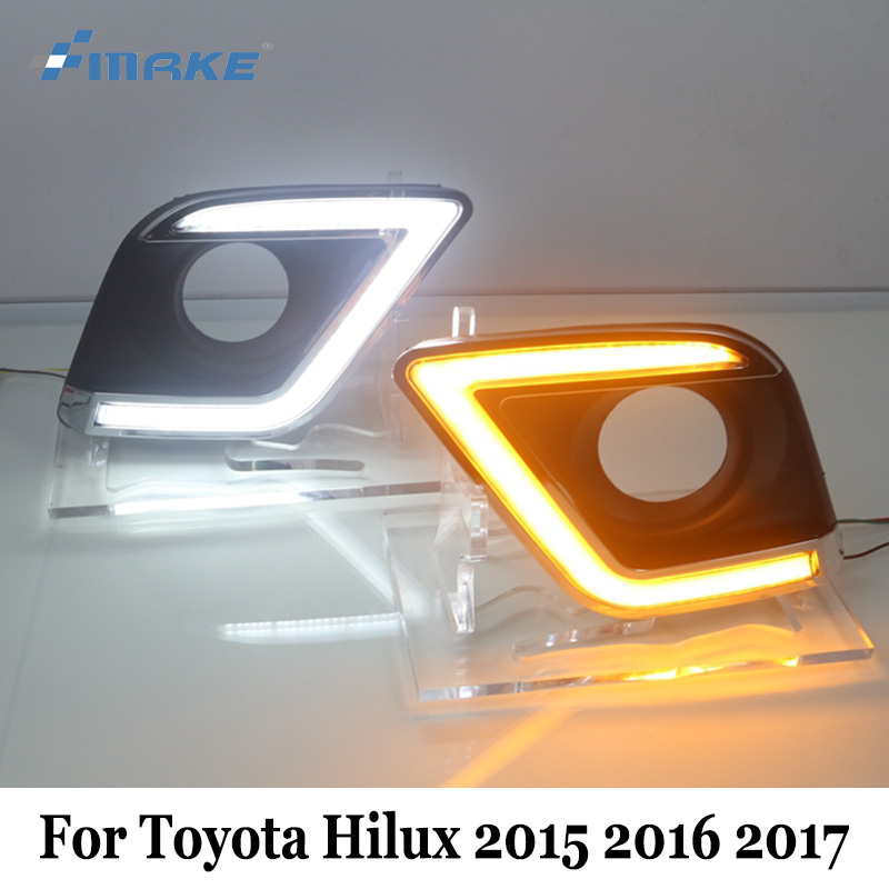 SMRKE DRL For Toyota Hilux 2015~2017 / TruckMasters OX 2017 / Double color Car Daytime Running Lights With Cornering Lamp 2016 2017 for toyota hilux chrome accessories front tail lights cover for toyota hilux basic versions car hilux ycsunz