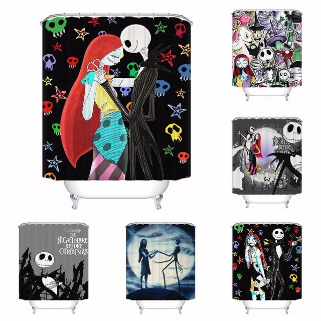 Custom The Nightmare Before Christmas Bathroom Acceptable Shower Curtain Polyester Fabric 180320