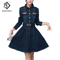 2018 Spring Patchwork Long Sleeve Slim Denim Women Dress Korean Style Elegant A Line Empire Dresses