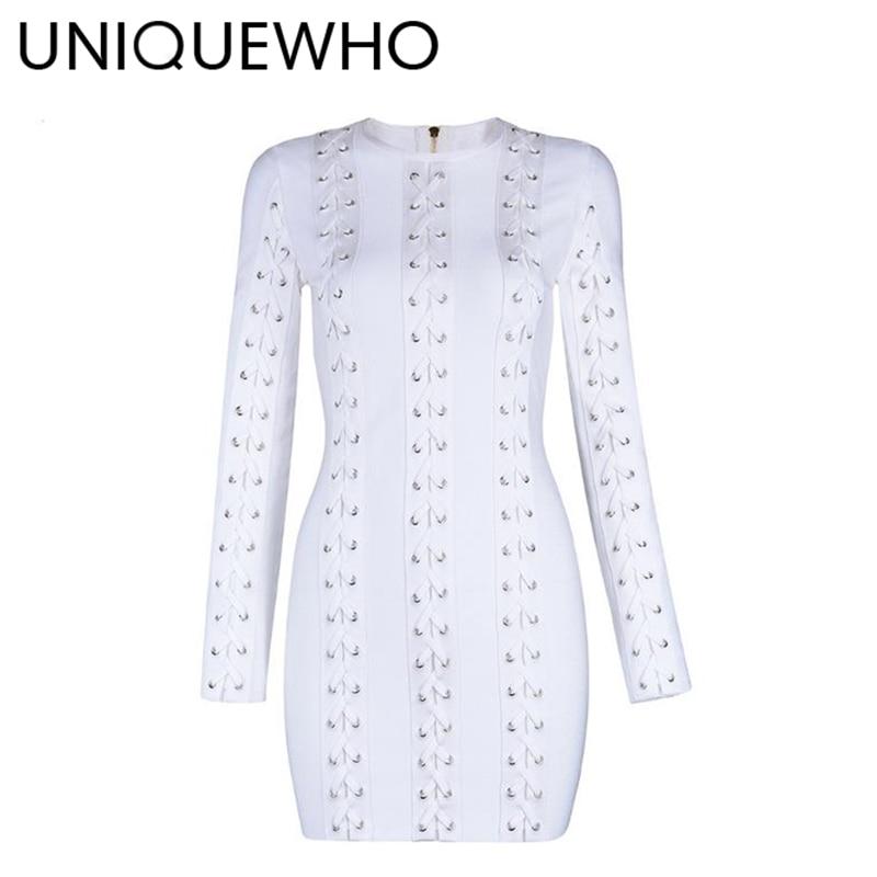 Cou Chic Printemps Blanc Longues Mini Robes 2018 Nouveau Mince À Bal Robe Uniquewho O Manches De Partie Club Soirée Sexy Bandage Femmes OkZwPX0N8n