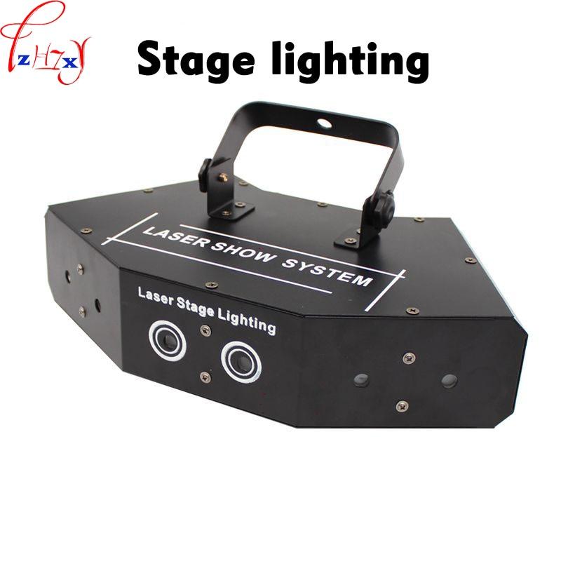 LED red and green blue six-eyes scanning laser light fan-shaped fine beam full color laser light bar disco lights 110/220V 1PC