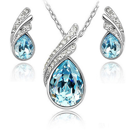 Fashion High imitation Austria Crystal Water Drop Leaves Earrings Necklace Jewelry Sets fo