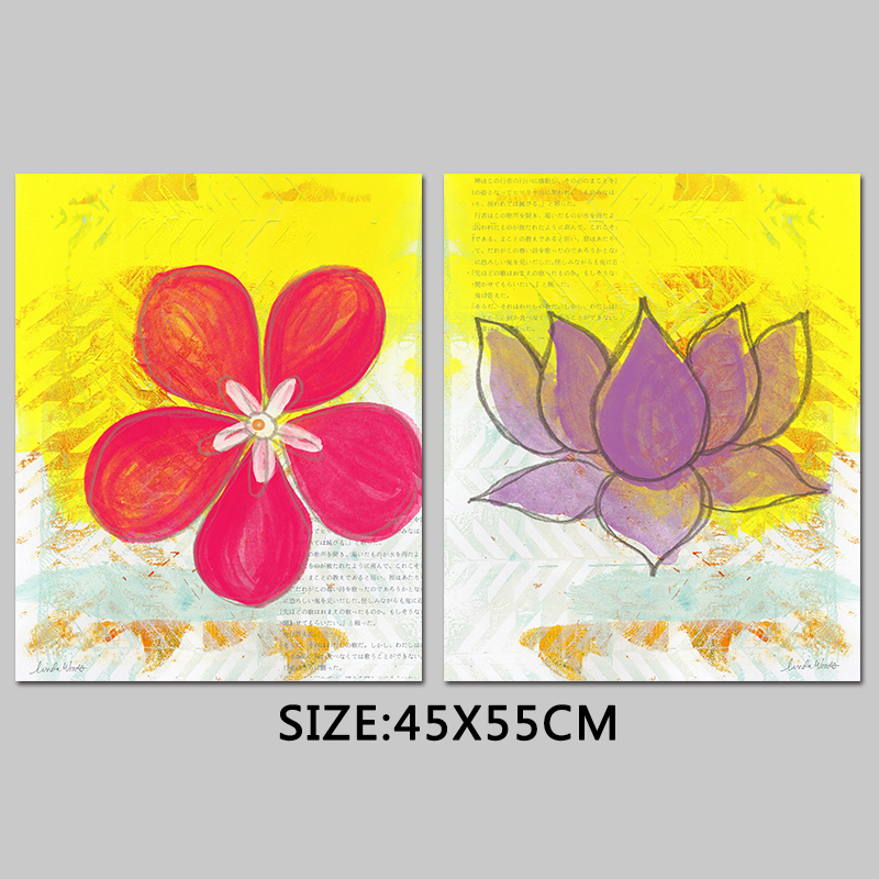 Retro Fashion Japanese purple lotus decoration flowers poster red ...