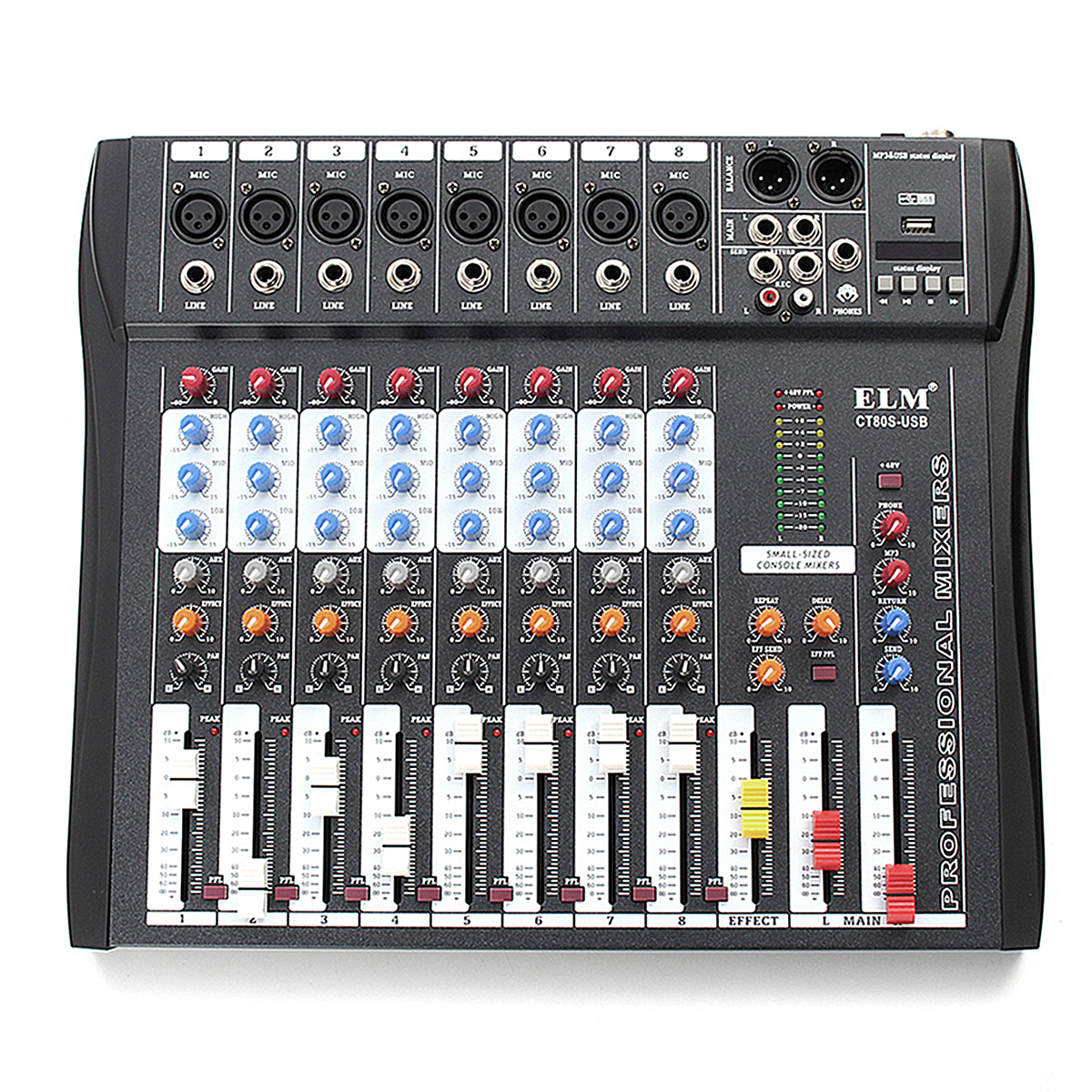 Professional 8 Channel DJ Sound Mixing Console with bluetooth Record Phantom Power With 48V Phantom Power USB JackProfessional 8 Channel DJ Sound Mixing Console with bluetooth Record Phantom Power With 48V Phantom Power USB Jack