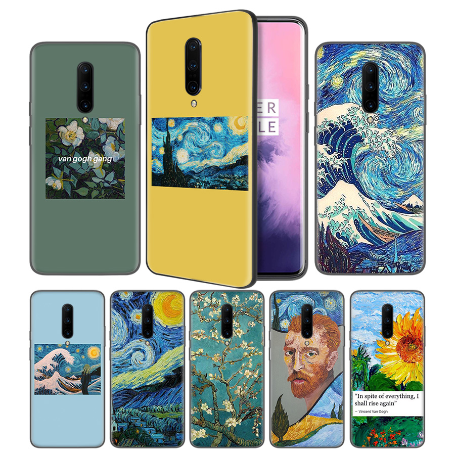 Aesthetic Van Gogh Soft Black Silicone Case Cover for font b OnePlus b font 6 6T