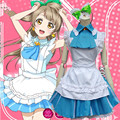 New Japanese Anime Love Live Minami Kotori Cosplay Halloween Costumes For Woman Blue Cafe Maid Clothes In Stock ZQ022