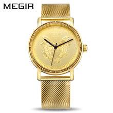 MEGIR reloj de cuarzo para hombre, de Color dorado cronógrafo de pulsera, de acero inoxidable, 2032 xfcs