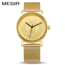 Megir moda quartzo relógio masculino marca de luxo ouro cor relógio de pulso masculino staninless aço relogio masculino 2032 xfcs